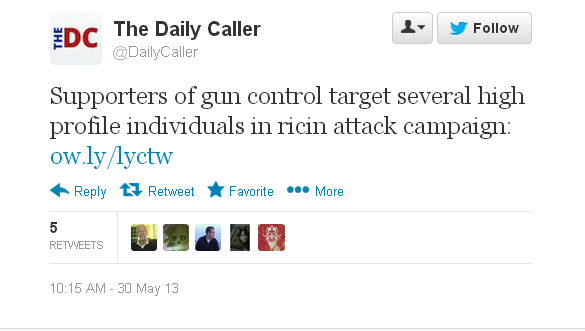 screenshot of Daily Caller tweet